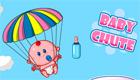 Una bebé en paracaidas