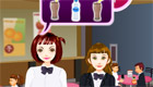 Una chica camarera de una cafetería