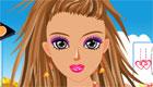 Maquilla a una chica con colores vivos