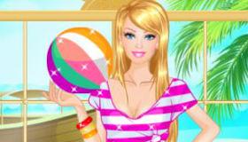 Vestir a Barbie en la playa