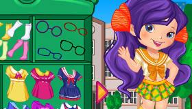 Vestir a una niña de colegio